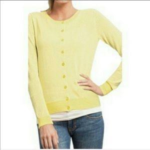 CAbi Daffodil Yellow Perforated Cotton Cardigan